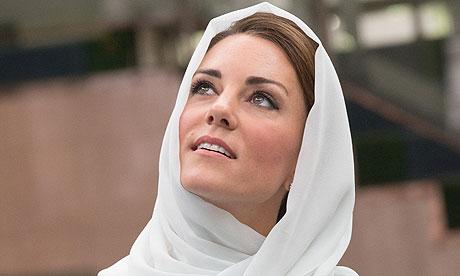 Kate Middleton style icon white headscarf